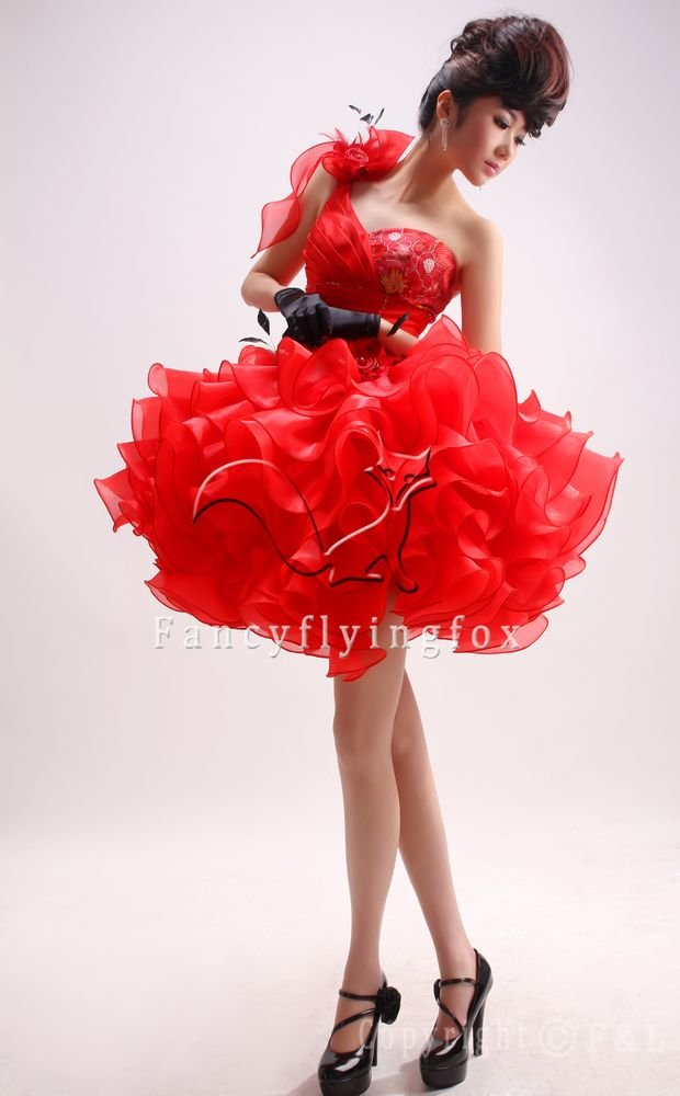 chic red organza one shoulder ball gown mini length cocktail dress 374