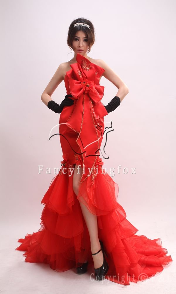 elegant red tulle srapless mermaid evening dress with ruffled skirt 381