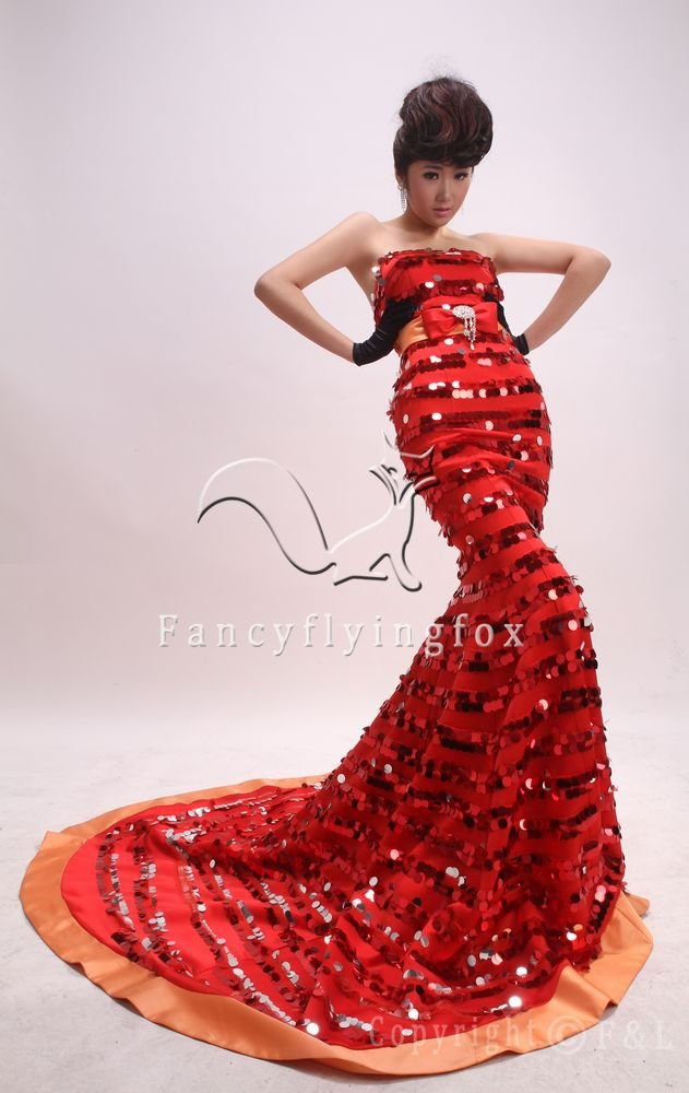 luxurious strapless shining red a-line floor length evening dress with sequined 382