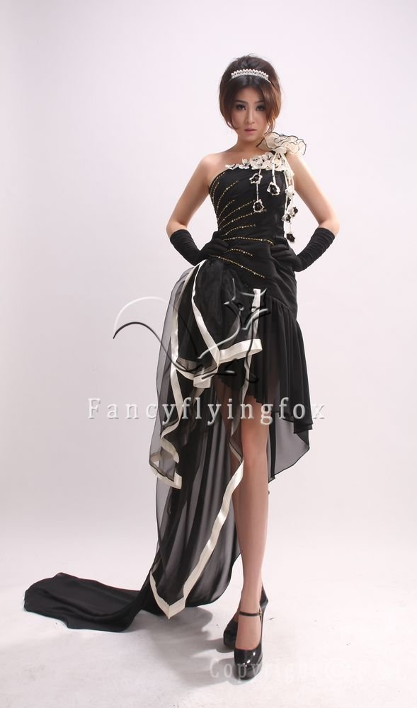 charming and modest one shoulder a-line black chiffon prom dress 386