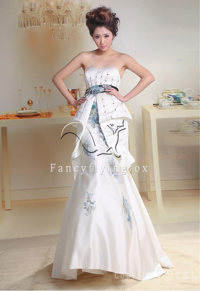 elegant white satin strapless a-line floor length wedding dress for summer 393