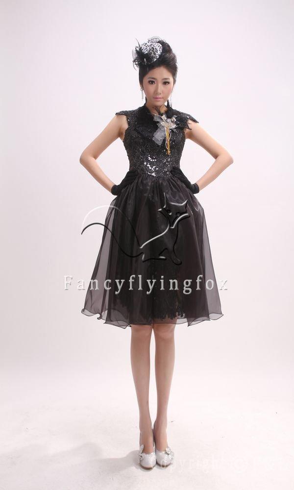 gorgeous black organza queen anne neck a-line knee length bridemaid dress 398