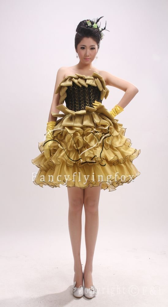 beautiful deisgn strapless gold tulle ball gown mini skirt sweet 16 dress 2800