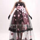 unique deisgn black nect strapless ball gowm quinceanera dress see through 28011