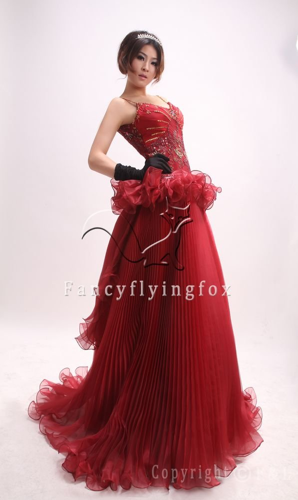sexy and unique fuchsia tulle spaghetti straps ball gown floor length prom dress ok-17