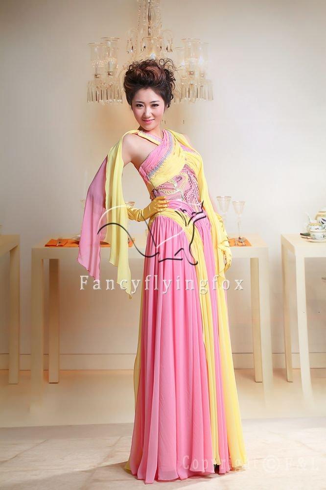 elegant pink and yellow chiffon column bridemaid dress y-048