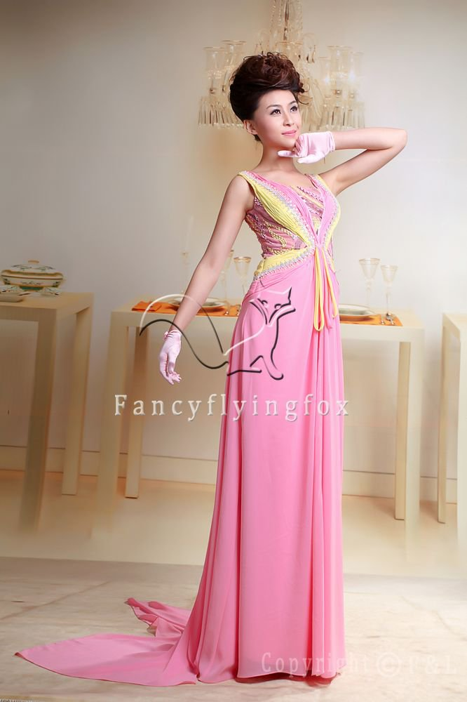stunning pink and yellow chiffon v-neck a-line floor length evening dress y-049
