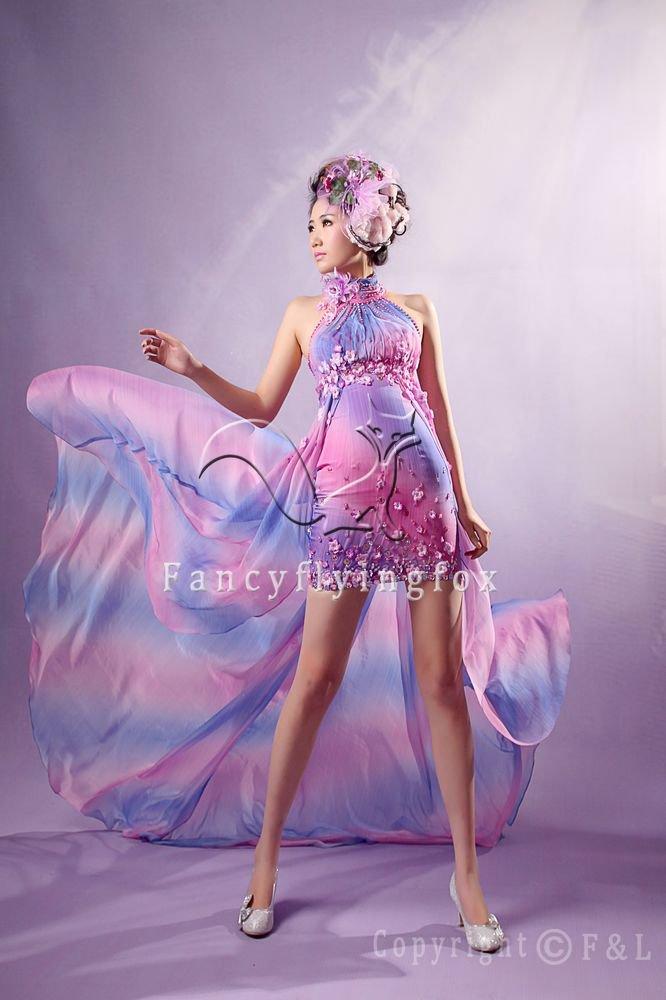 sexy halter style rainbow chiffon a-line mini length cocktail dress y-051