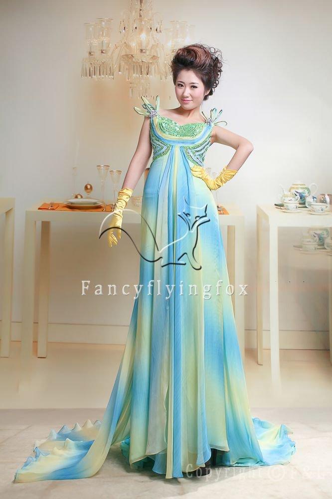 charming empire chiffon bateau neck floor length maternity evening dress y-053