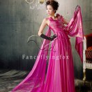 stunning fuchsia straps a-line floor length evening dress y-057