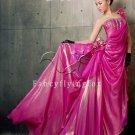elegant fuchsia chiffon one shoulder a-line floor length prom dress y-058
