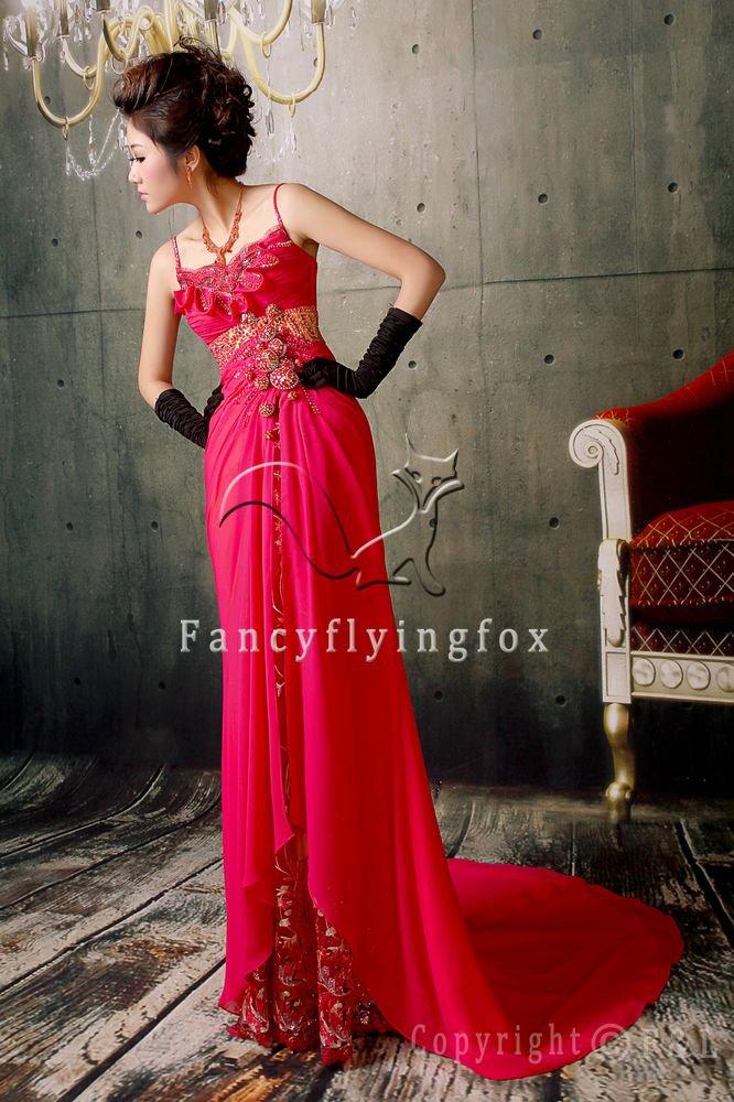 mature fuchsia chiffon spaghetti straps a-line floor length evening dress y-071