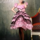 2013 pink tulle short sleeves short sleeves ball gown knee length quinceanera dress y-075