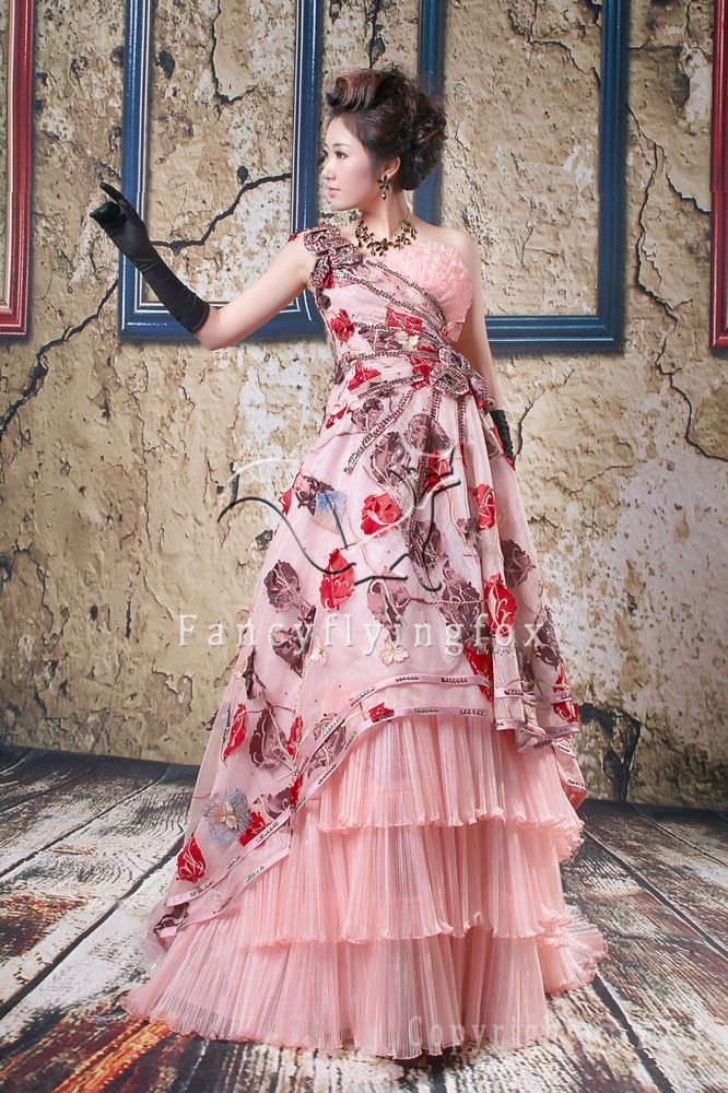 charming and vintage pink tulle one shoulder ball gown floor length quinceanera dress y-078