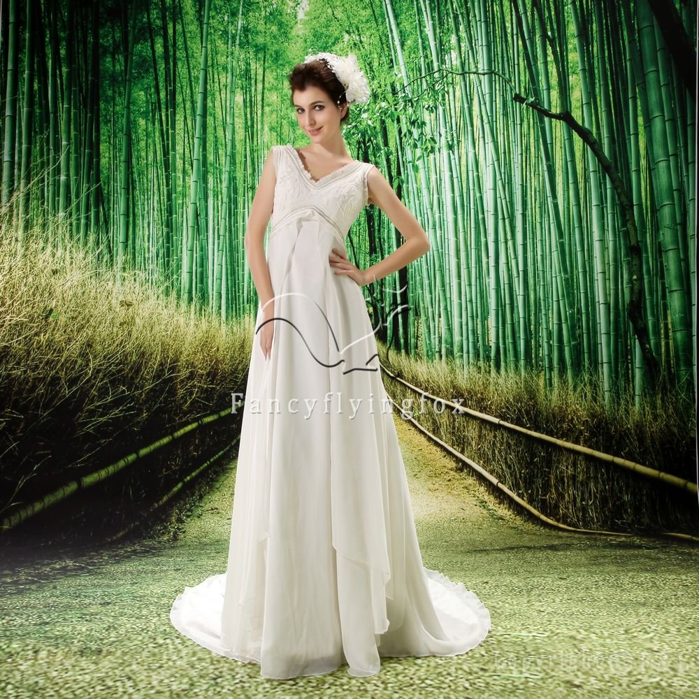 2013 modest v-neck empire chiffon destination wedding dress F-006