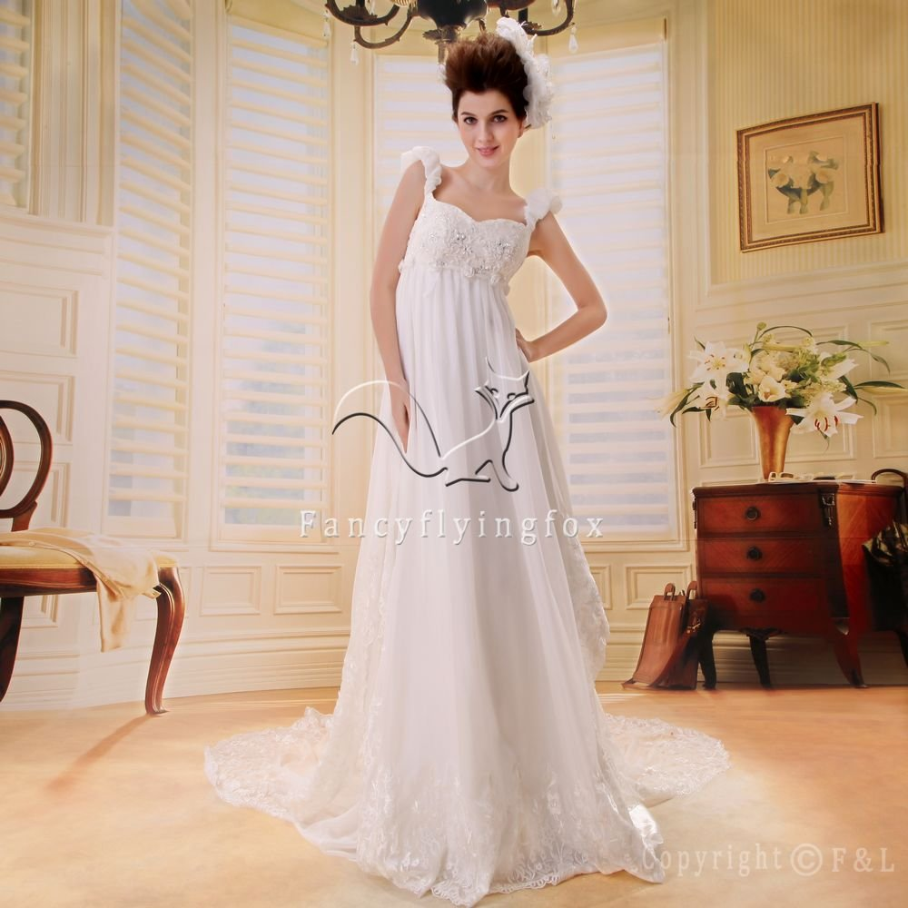 brilliant white chiffon straps empire maternity wedding dress F-014