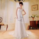 brilliant white chiffon straps empire maternity wedding dress F-014