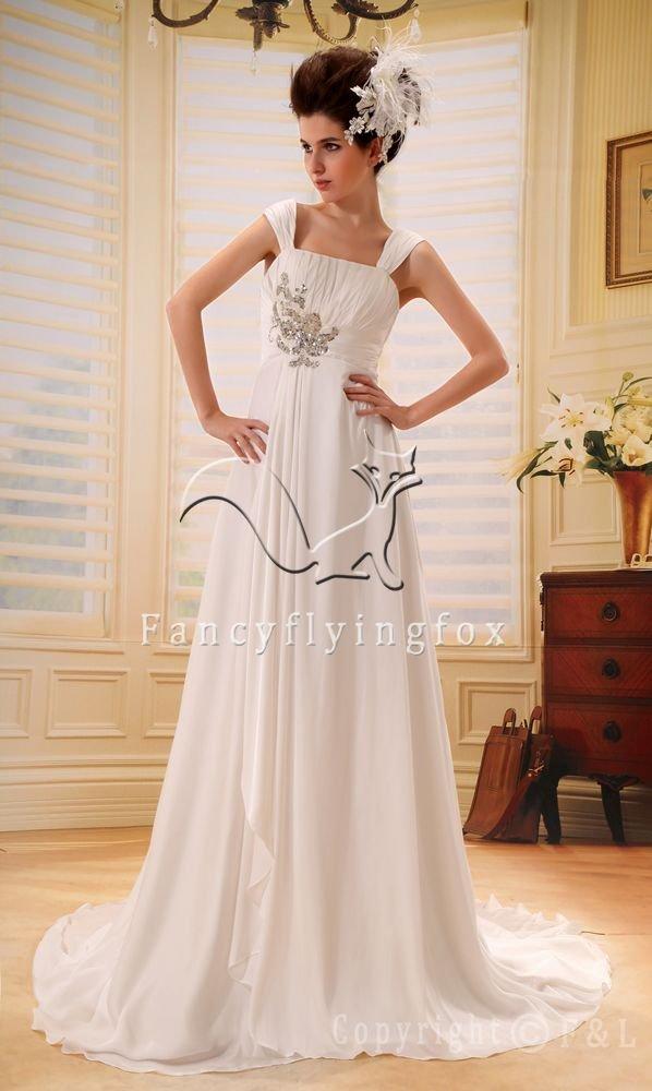 elegant and brilliant chiffon straps a-line floor length beach casual wedding dress F-016