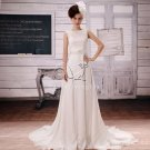 brilliant white chiffon and satin portrait neck a-line floor length wedding dress F-017