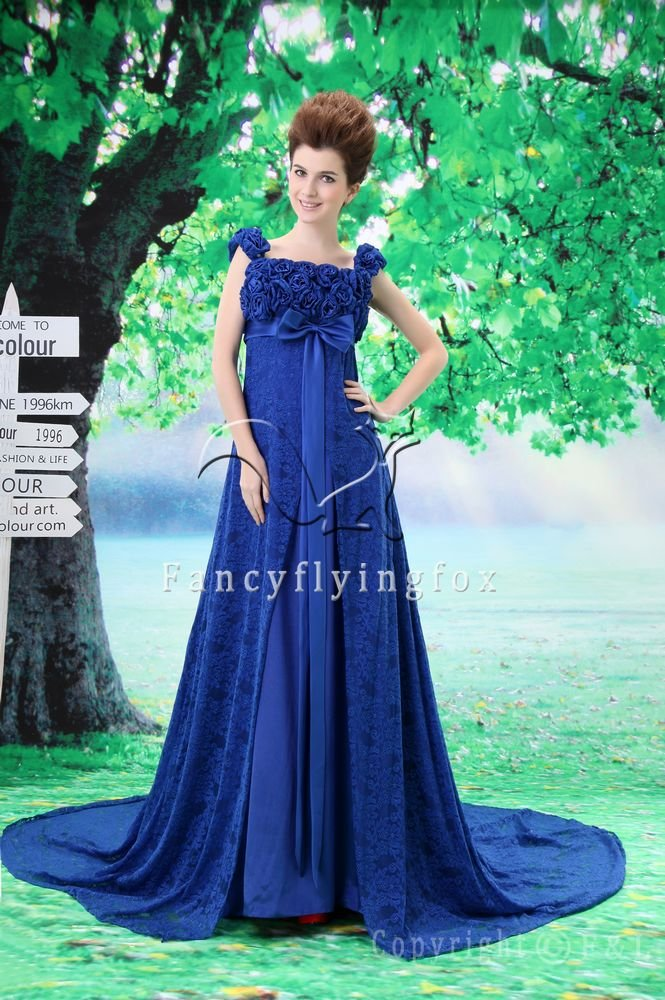 2013 elegant royal blue lace floral straps empire evening dress F-020
