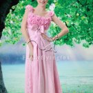 sweet pink lace floral empire floor length pink weding dress F-020