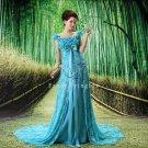 elegant sky blue lace floral straps a-line floor length prom dress F-020