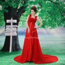 sexy and modern hot red lace floral straps a-line floor length evening dress F-020