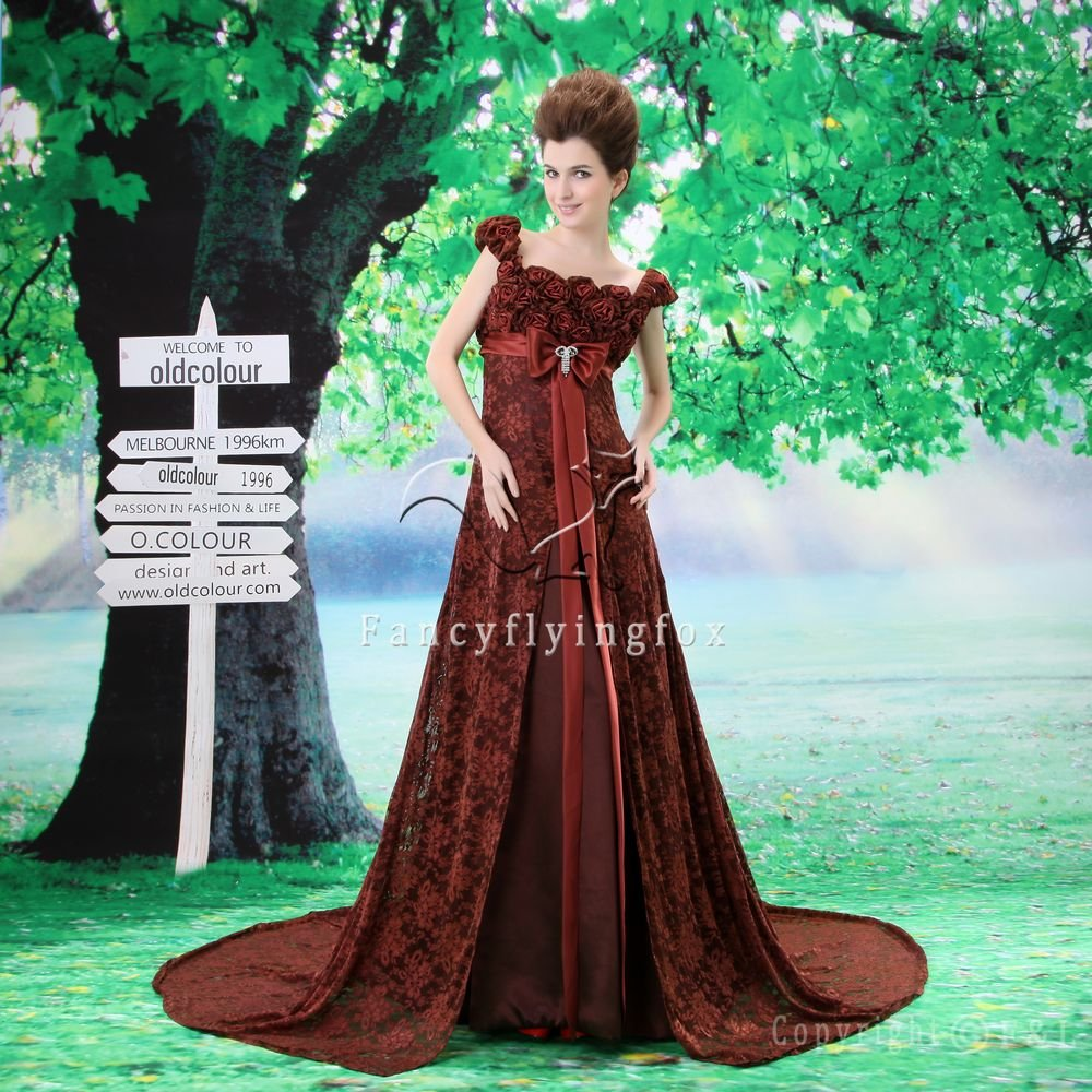 modest chocolate lace floral straps a-line floor length evening dress F-020