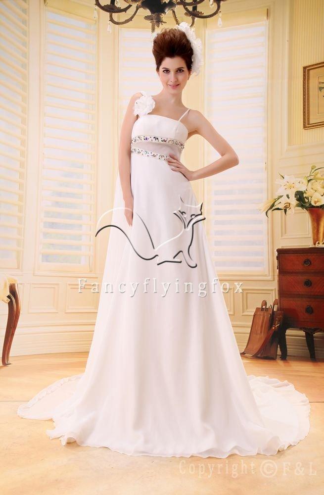 modest white chiffon asymmetrical neck a-line floor length beach casual wedding dress F-027