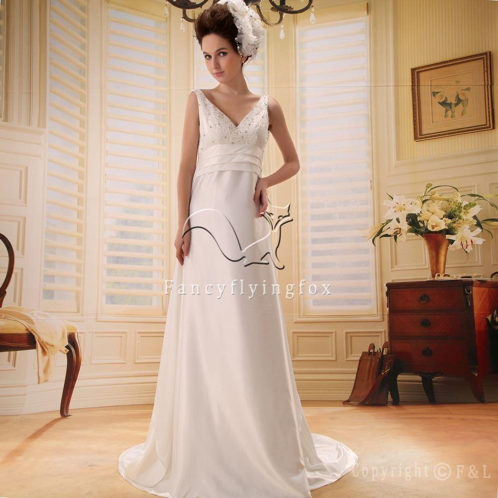 2013 modest white satin v-neck empire maternity wedding dress F-028