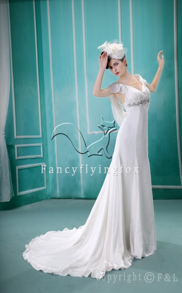 gorgeous chiffon v-neck a-line floor length beach casual wedding dress F-031