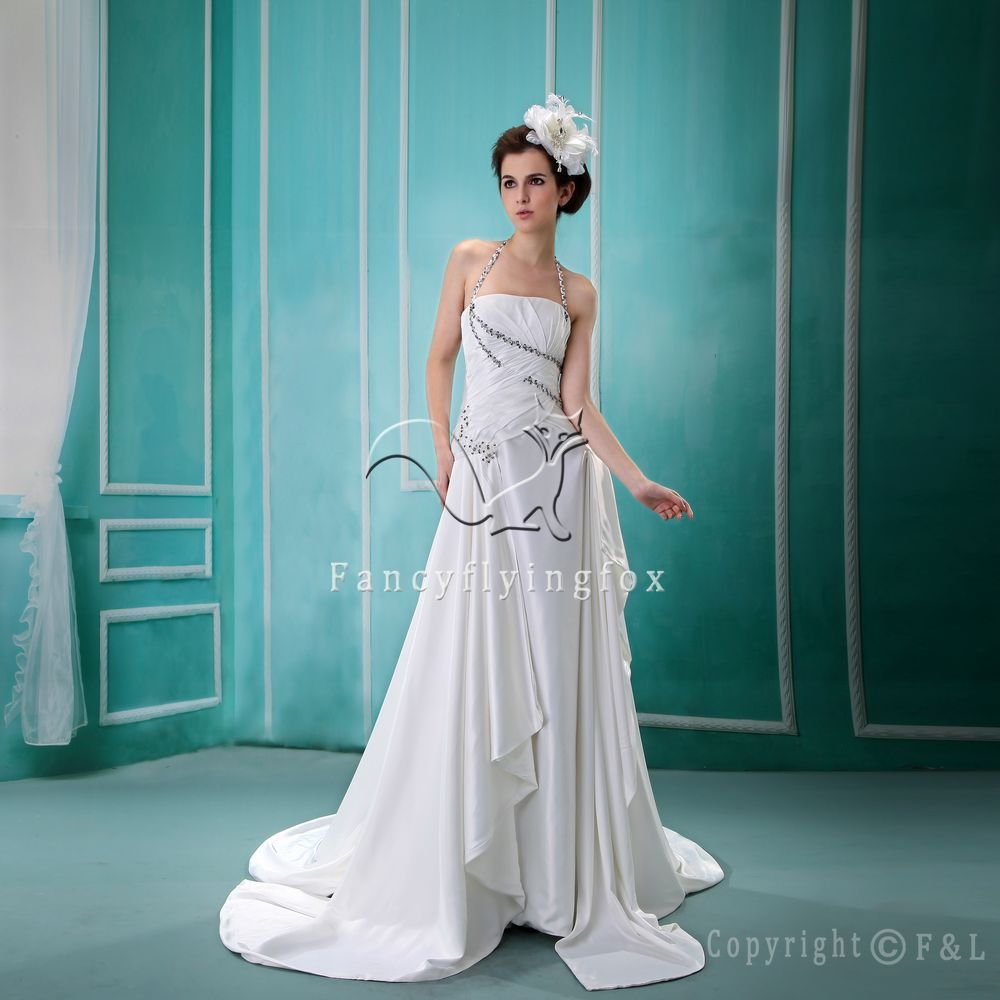sexy and modern halter satin white a-line floor length wedding dress F-039