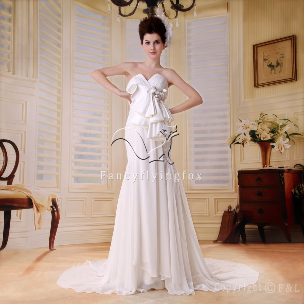 brilliant white chiffon sweetheart trumpet mermaid weddin dress F-040