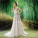 classic and modern white chiffon spaghetti straps a-line casual beach wedding dress F-041