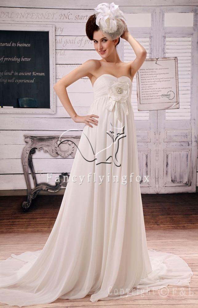 modest white chiffon sweetheart empire maternity wedding dress F-044