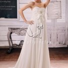 modest white chiffon sweetheart empire maternity wedding dress F-044