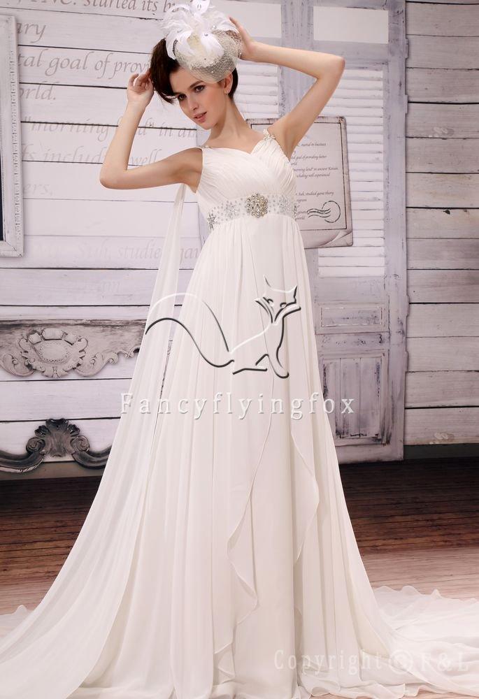 elegant white chiffon v-neck a-line floor length beach casual wedding dress F-048