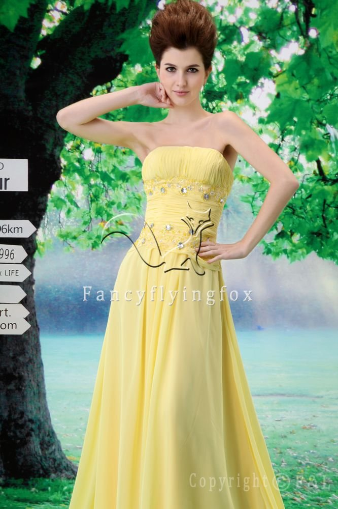 sweet daffodil chiffon strapless a-line floor length evening dress F-050