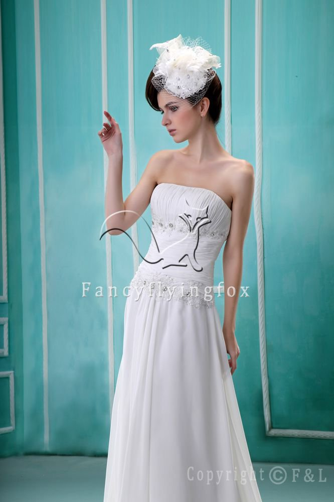 charming and elegant white chiffon strapless a-line floor length beach wedding dress F-050