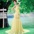 charming and elegant daffodil chiffon one shoulder a-line floor length evening dress F-051