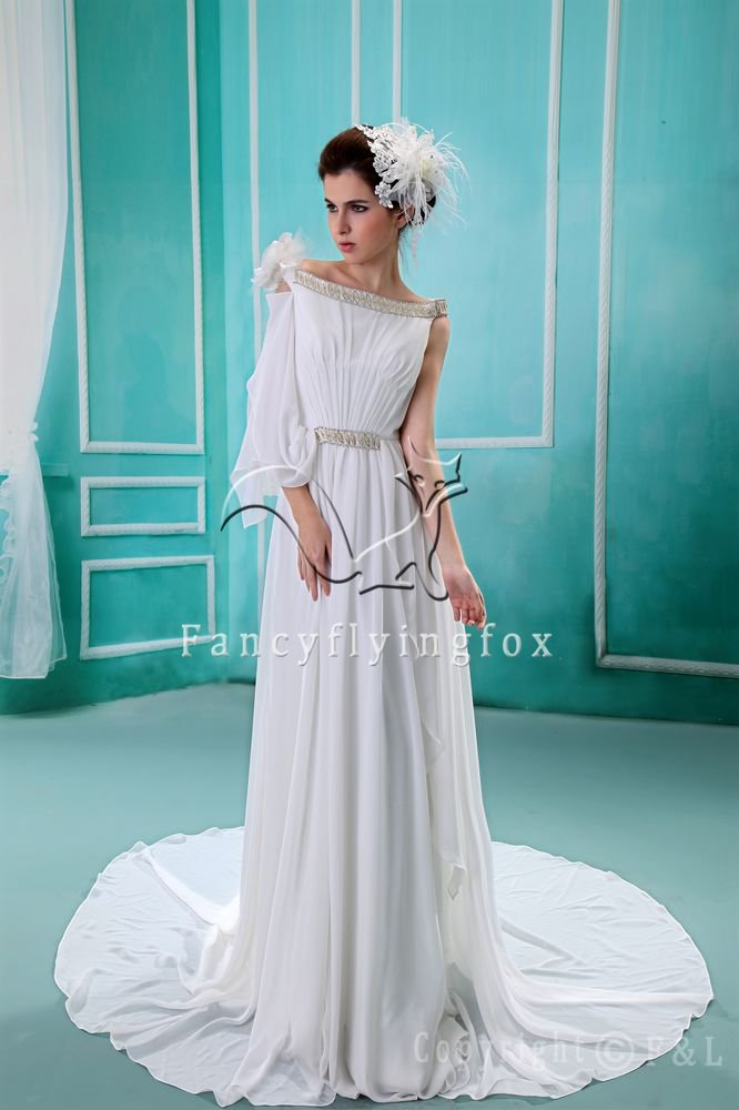 unique bateau neck asymmetrical sleeves a-line floor length beach casual wedding dress F-053