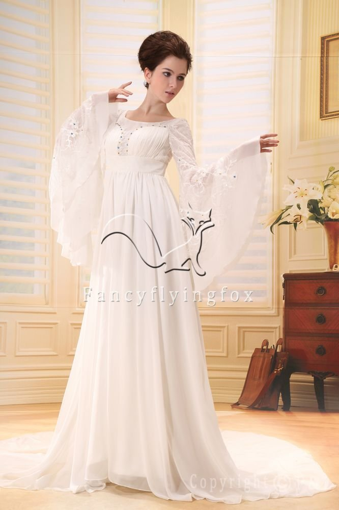 long sleeves a-line muslim wedding dress F-072