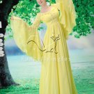 sweet daffodil chiffon long sleeves muslim evening dress F-072