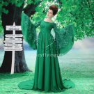 glamour green chiffon long sleeves evening dress F-072