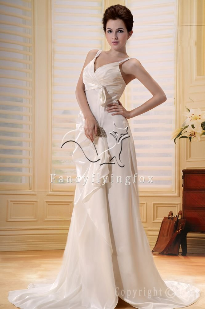 sexy spaghetti straps a-line floor length wedding dress F-080