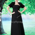 modest black chiffon empire mother of the bride dress with bolero F-082
