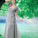 silver chiffon mother of the bride dress with bolero F-082