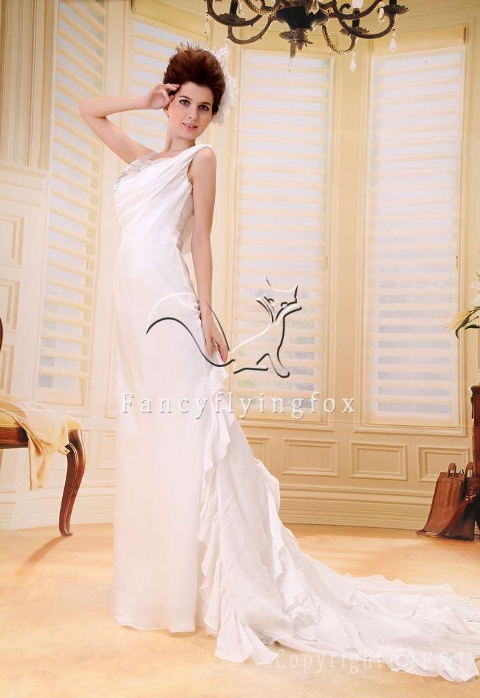 elegant scoop neck a-line chiffon beach casual wedding dress F-085
