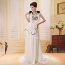 elegant a-line chiffon beach casual wedding dress F-086