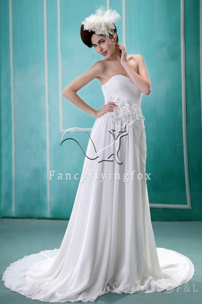 charming white chiffon sweetheart a-line floor length wedding dress F-111